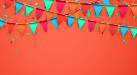 Celebrate horizontal living coral banner composed with party flags with confetti. Vector illustration.