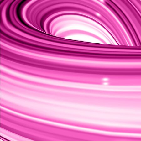 Square background with pink abstract twisted shape in motion. Illustration of 3D rendered flow digital art - Vector  Stock Illustratie