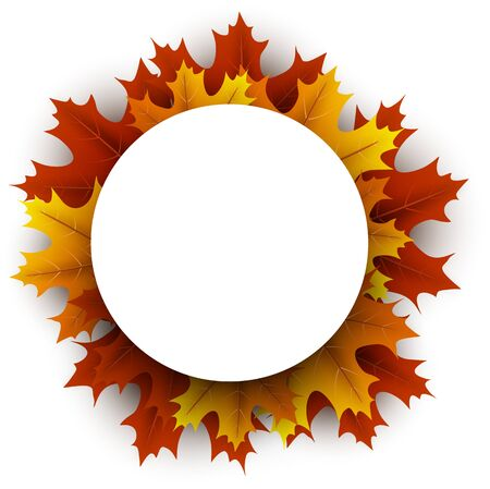 White paper round space on autumn background with beautiful orange maple leaves. Season decoration - Vector