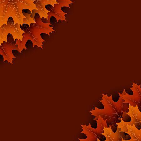 Autumn background with beautiful orange maple leaves. Season decoration - Vector