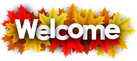 Lettere di benvenuto di carta d'autunno su foglie d'acero di colore - illustrazione vettoriale. Vettoriali