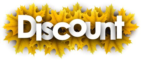 Autumn paper discount letters over yellow maple leaves - Vector illustration. Stockfoto - 128505394