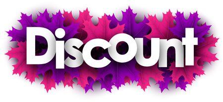 Autumn paper discount letters over color maple leaves - Vector illustration.  Stock Illustratie