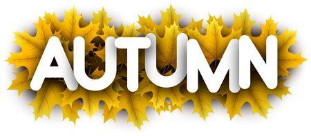 Autumn paper letters over yellow maple leaves - Vector illustration.  Stock Illustratie