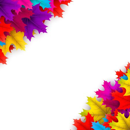 Autumn square background with beautiful colorful maple leaves on white. Season decoration - Vector