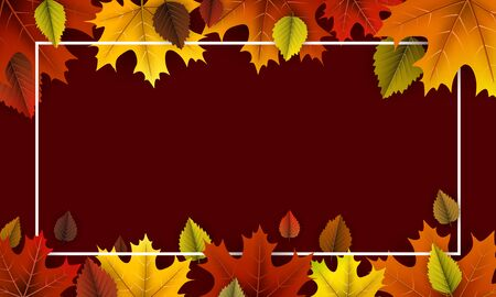 Autumn background with beautiful colorful maple leaves and white frame. Season decoration - Vector