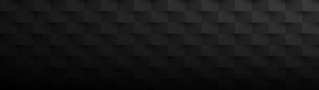 Black horizontal abstract banner. Texture geometric checkered cover design pattern. Vector illustration. Stockfoto - 128853205