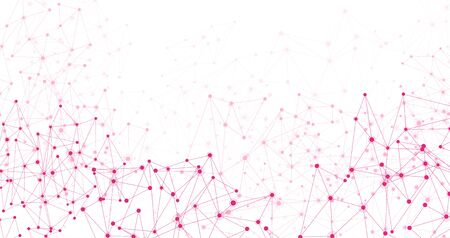 Global social communication white horizontal banner with pink polygon network mesh. Vector illustration.