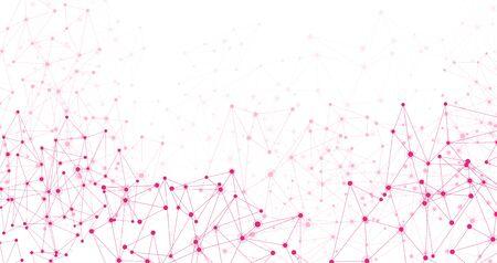 Insegna orizzontale bianca di comunicazione sociale globale con la maglia della rete del poligono rosa. Illustrazione vettoriale. Vettoriali