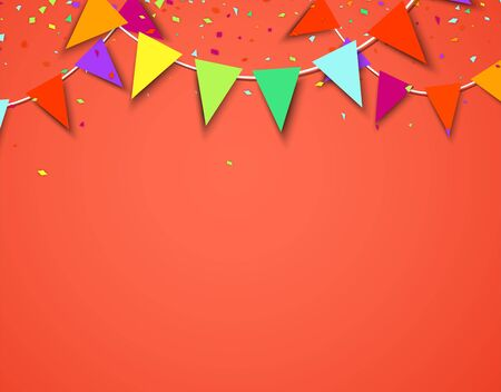 Celebrate living coral banner composed with party flags with round confetti. Vector illustration.