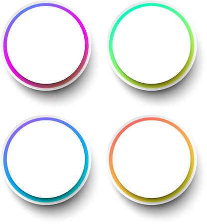 Set of round paper shapes with colorful frames for text. Abstract circles design bubbles. Vector illustration.