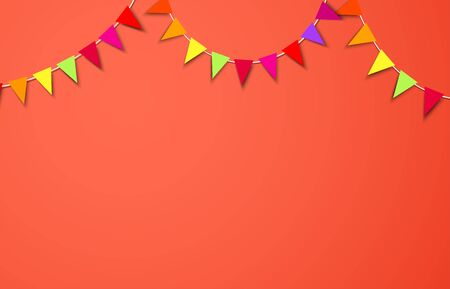 Celebrate living coral horizontal background composed with party flags. Vector illustration.
