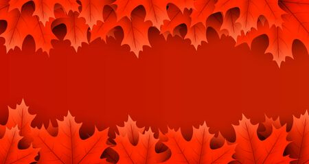 Autumn horizontal banner with beautiful red maple leaves. Season decoration - Vector