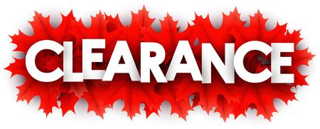 Autumn paper clearance letters over red maple leaves - Vector illustration. Stockfoto - 128853210