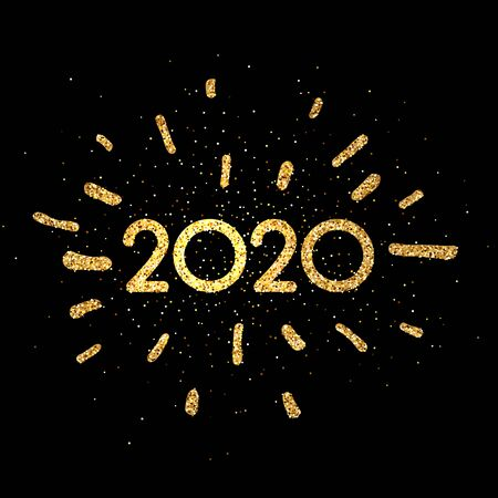 Black 2020 New Year background with shiny gold figures. Christmas greeting card or poster template. Winter decoration - Vector Stockfoto - 131216959