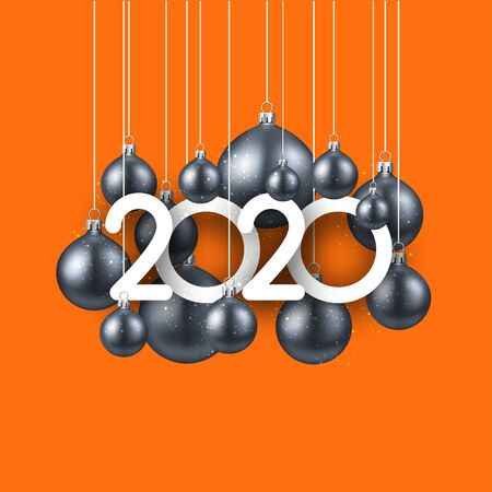 Happy new 2020 year. Christmas holiday illustration of grey realistic balls with 2020 numbers on orange background. Winter decoration - Vector
