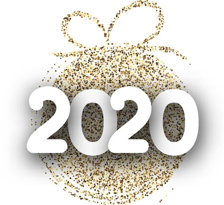 White 2020 New Year background with gold abstract stylized Christmas ball. Greeting card or festive poster template. Vector paper illustration. Stockfoto - 131216354