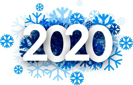 Winter 2020 new year sign with blue beautiful snowflakes on white background. Seasonal card or poster template. Vector paper illustration.