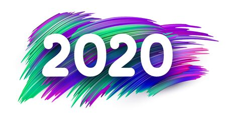 White 2020 new year sign with spectrum brush strokes. Illustration of colorful gradient brush design - Vector