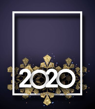 Happy New Year 2020 greeting card template with white frame and golden shiny snowflakes. Vector background. Stockfoto - 131216649