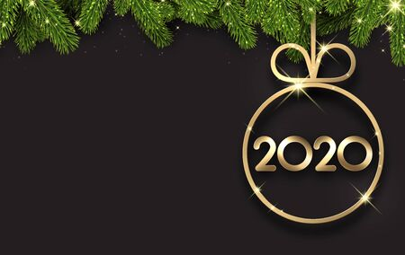 Black 2020 New Year background with fir branches and gold glossy Christmas ball. Christmas greeting card or poster template. Vector illustration.