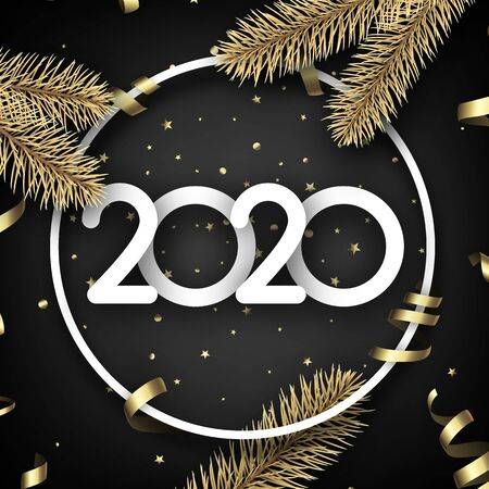 Black shiny happy New Year background with paper 3d 2020 nubmers and gift bow. Winter decoration - Vector Stock Illustratie