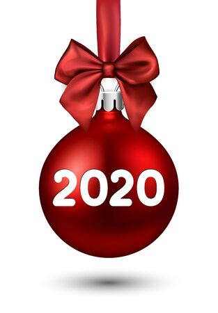 2020 New Year red ball with satin bow. Greeting card or decoration. Winter decoration - Vector Stockfoto - 131217000