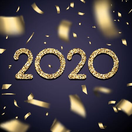 Happy New Year 2020 festive poster with golden blurred confetti. Vector background.