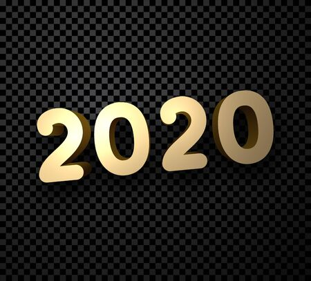 Gold 2020 New Year 3d sign on black transparent background. Christmas greeting card or poster template. Vector illustration. Stock Illustratie