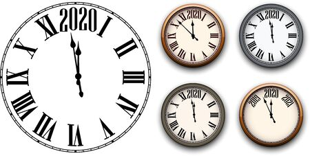 Set of round 2020 New Year clock isolated on white background. Flat and 3d templates for Christmas greeting card design and decoration. Vector illustration. Stockfoto - 131216430