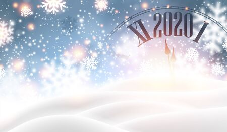 Christmas and New Year 2020 shiny card with clock and snow. Vector background. Stock Illustratie