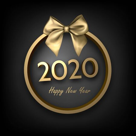 Black shiny 2020 happy New Year background with golden 3d round frame and satin ribbon with beautiful bow.  Winter decoration - Vector Stockfoto - 131216592