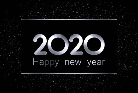 2020 new year sign with shiny silver letters and sand on black background. Christmas illustration - vector. Stockfoto - 131216759