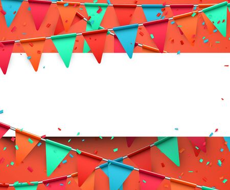 Celebrate horizontal living coral background with party flags, confetti and paper white banner. Vector illustration.   Illustration