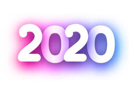 Purple spectrum 2020 new year festive sign on white background. Christmas decoration - Vector Stockfoto - 131216540