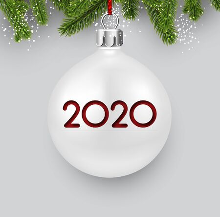 White 2020 New Year background with fir branches and 3d Christmas ball. Christmas greeting card or poster template. Vector illustration. Stock Illustratie