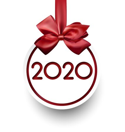 White 2020 New Year card in shape of Christmas ball with red satin bow. Greeting card or decoration. Vector paper illustration.