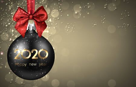 2020 New Year black ball with red satin bow and glittering. Greeting card or decoration. Winter decoration - Vector