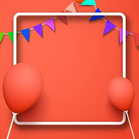 Celebrate living coral square background composed with party flags with balloons and paper rounded frame. Vector illustration.  Stock Illustratie