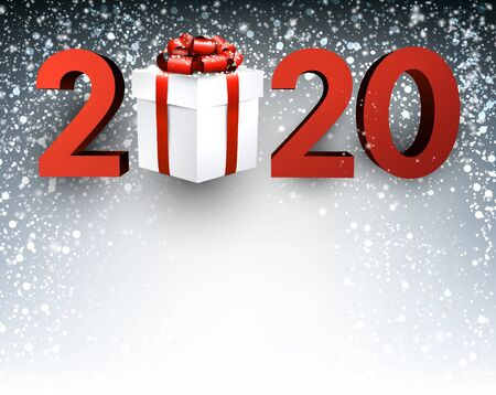 Grey 2020 New Year background with red numbers, gift box and snow. Greeting card or decoration. Vector illustration. Stockfoto - 131219187
