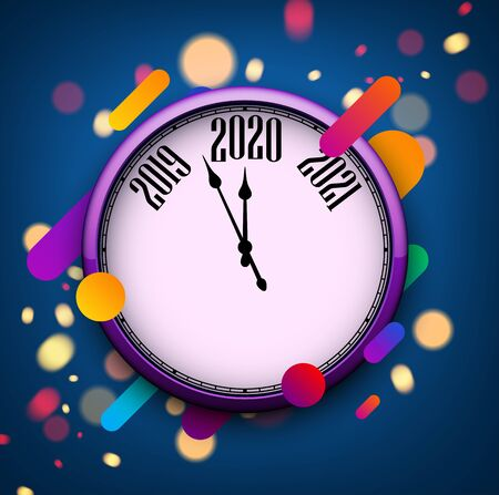 Blue 2020 new year background with round clock and abstract colorful pattern. Christmas greeting card template. Vector illustration. Stockfoto - 131219190