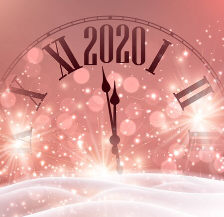 Christmas and New Year 2020 shiny pink card with clock and snow. Vector background. Stock Illustratie
