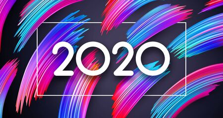 2020 new year sign with spectrum brush strokes. Illustration of colorful gradient brush design - Vector  Stock Illustratie