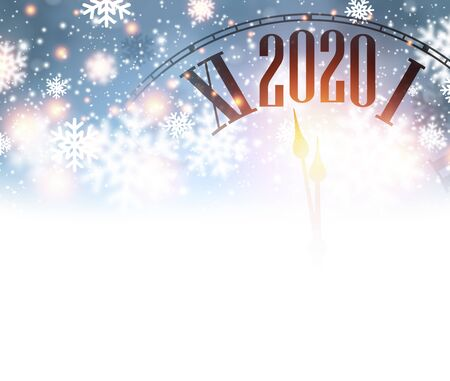 Christmas illustration. Blue shining 2020 New Year background with clock. Winter decoration - Vector Stockfoto - 131216458