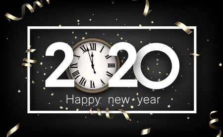 Black happy New Year background with white paper 2020 nubmers and frame. Winter decoration - Vector