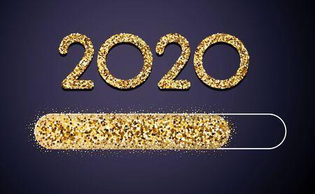Chargement de la carte festive créative dorée du Nouvel An 2020 avec une barre de progression brillante. Fond de vecteur.