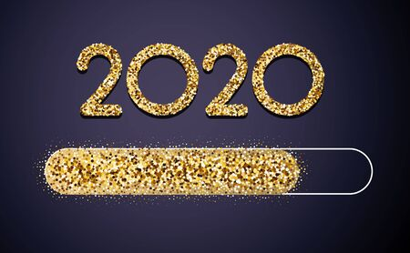 Loading 2020 New Year golden creative festive card with shiny progress bar. Vector background. 矢量图像
