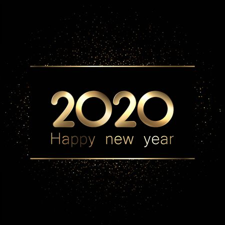 2020 new year sign with shiny gold letters and sand on black background. Christmas illustration - vector. Stockfoto - 131219189