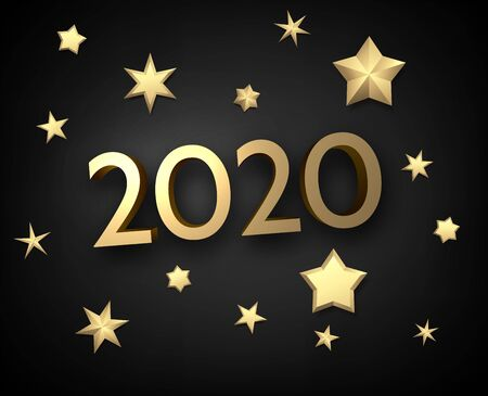 Black shiny happy New Year background with golden 3d 2020 nubmers and stars.   Winter decoration - Vector