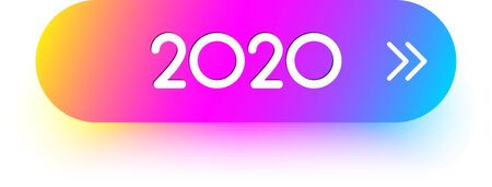 Pink spectrum 2020 New Year sign, icon or oval button for festive design. Vector gradient background.